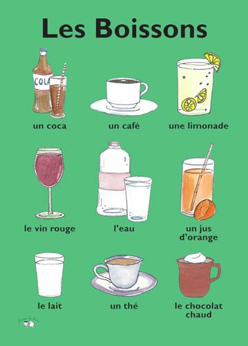 Poster les boissons little linguist for Apprendre cuisine