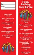 Multilingual Happy Birthday Bookmarks - European Languages (Pack of 20)