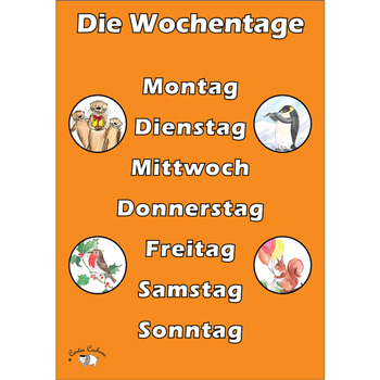 German Vocabulary Poster: Die Wochentage (A3)