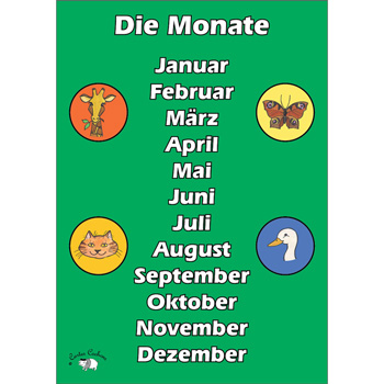 German Vocabulary Poster: Die Monate (A3)