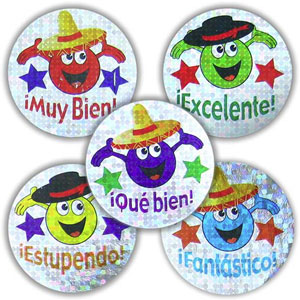 Spanish Reward Stickers - Sparkling Characters (Mixed Pack of 125)