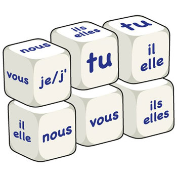 French Word Dice - Pronouns (Set of 6)