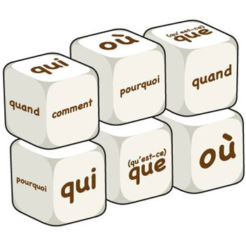 French Word Dice - Questions (Set of 6)