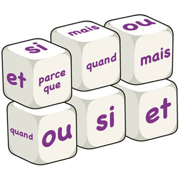 French Word Dice - Conjunctions (Set of 6)