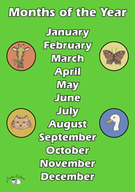 English Poster (A3) - Months of the Year