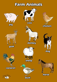 English Poster (A3) - Farm Animals