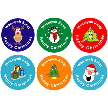 Polish Bilingual Christmas Stickers - (Mixed Pack of 96)