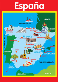 Map of Spain - A2 Poster