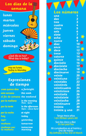 Spanish Bookmarks - Days & Numbers (Pack of 20)