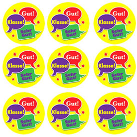 German Reward Stickers - Speech Bubbles (Pack of 125)