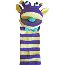 Sockette Glove Puppet - Rupert (Purple / Yellow)