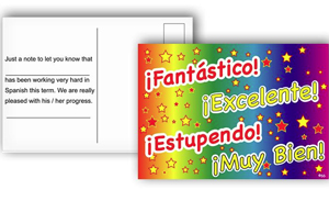 Spanish Reward Postcards - Various Praise Words (Pack of 20)