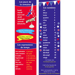 French Bookmarks - French Days & Numbers (Pack of 20)
