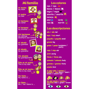 Spanish Bookmarks - Spanish Family, Colours & Descriptions (Pack of 20)