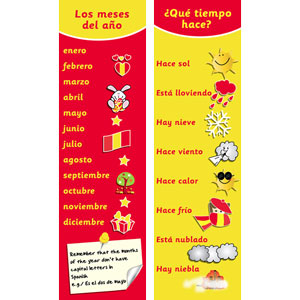 Spanish Bookmarks - Spanish Months & Weather (Pack of 20)