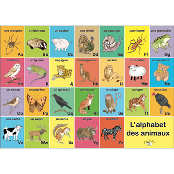 French Vocabulary Poster: L'alphabet des animaux (A3)
