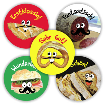 German Reward Stickers - German Foods (Mixed Pack of 125)