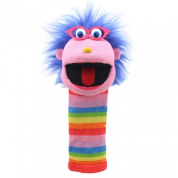 Sockette Glove Puppet - Gloria (Pink / Rainbow Stripe)