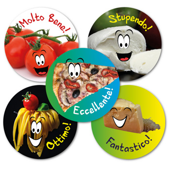 Italian Reward Stickers - Italian Foods (Mixed Pack of 125)