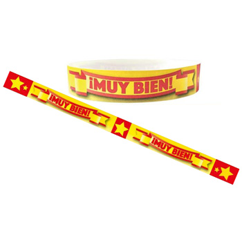 Spanish Wristbands: ¡Muy Bien!: Red  (Pack of 30)