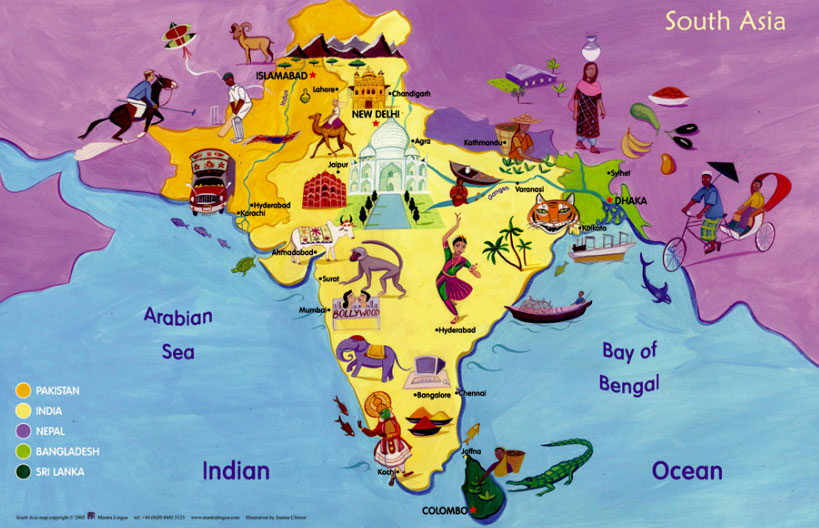 South Of Asia Map.Map Of South Asia Poster
