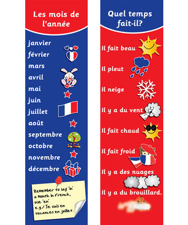 French Bookmarks - French Months & Weather - Little Linguist