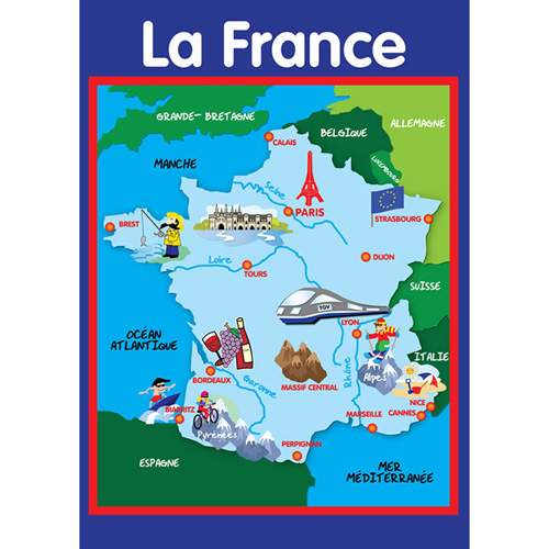 La France Map.Map Of France A2 Poster Little Linguist