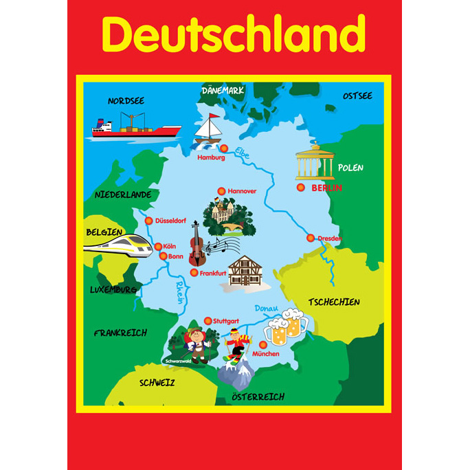 Map Of Germany A Poster Little Linguist - German map