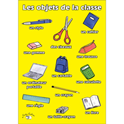 French Vocabulary Poster: Les Objets de la Classe (A3)