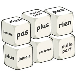 French Word Dice - Negatives (Set of 6)