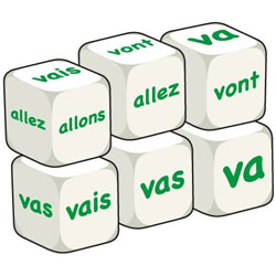 French Word Dice - Aller (Set of 6)
