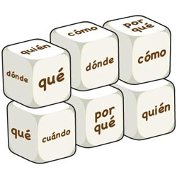 Spanish Word Dice - Question Words (Set of 6)