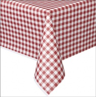 French - Style Red Gingham Plastic Tablecover