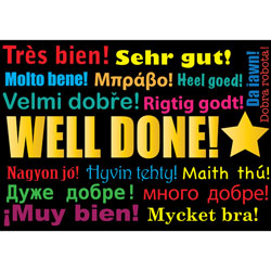 Multilingual Well Done Praise Postcards (Pack of 20)