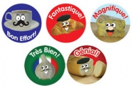 French Reward Stickers - French Foods (Mixed Pack of 125)