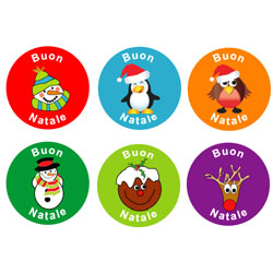 Italian Christmas Stickers - (Mixed Pack of 96)