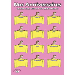 French Birthday Chart: Nos Anniversaires (A3)