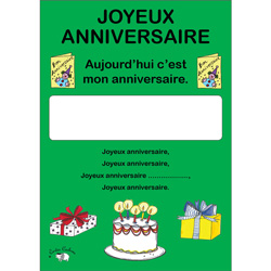 French Birthday Poster: Joyeux Anniversaire (A4)