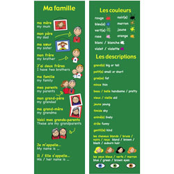 French Bookmarks - French Family, Colours & Descriptions (Pack of 20)
