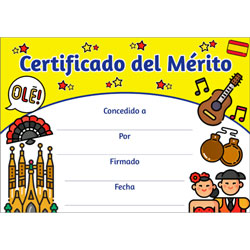Spanish Merit Certificates (Pack of 20) - Certificado del Mérito Yellow